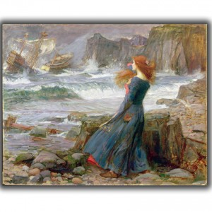 MAA181771 Miranda, 1916 (oil on canvas) by Waterhouse, John William (1849-1917); 45.7x60 cm; Private Collection; (add.info.: one of two versions of Miranda;); Photo Β© The Maas Gallery, London; English,  out of copyright
