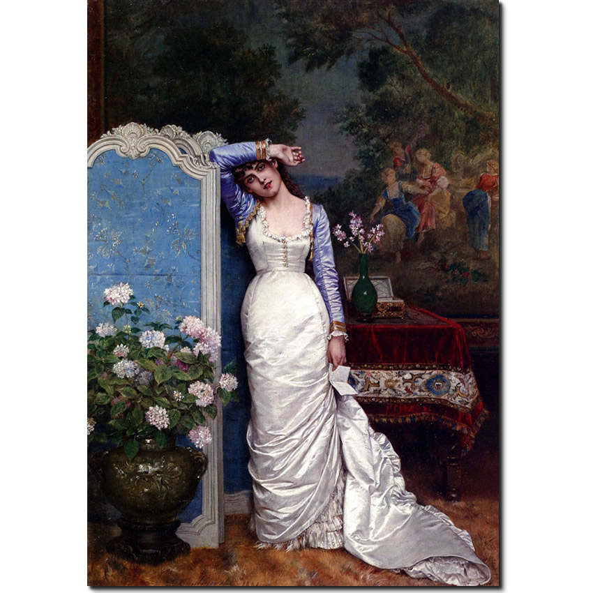 Young Woman in an Interior by Auguste Toulmouche