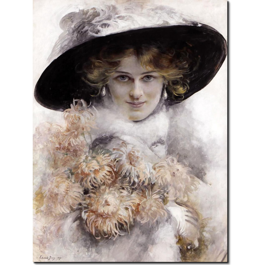 Portrait of a Lady in black hat By Bisson