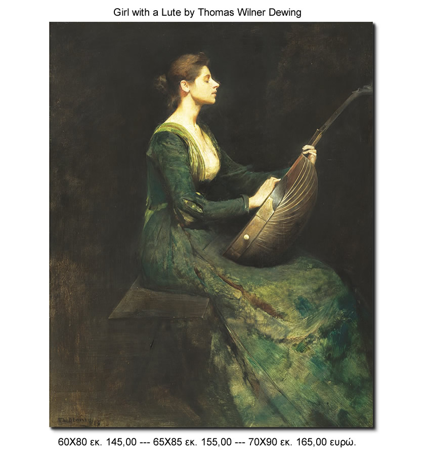 Girl with Lute by Thomas Wilner Dewing