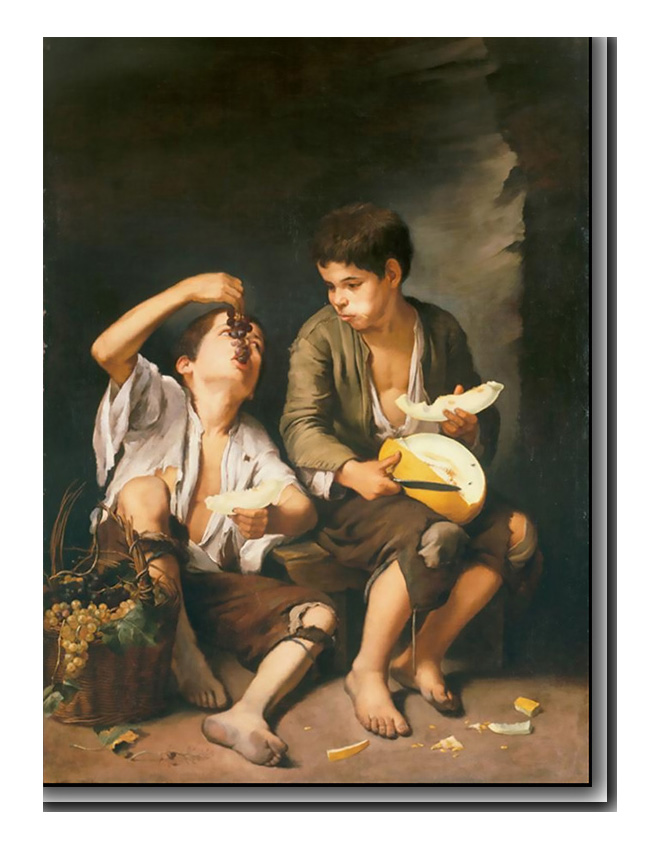 Two Children Eating a Melon and Grapes by Bartolome Esteban Murillo